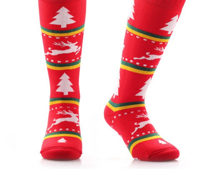 Samson® Tacky Xmas Christmas Socks Thick Knee High Ski Snow Stockings Festive Seasonal Winter Thermal Cosy Warm