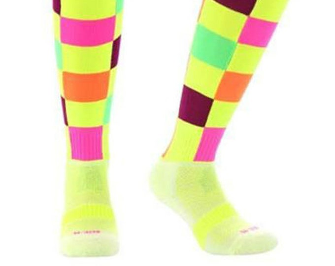 Samson® Check Illuminous Funky Socks Sport Knee High Sport Football Rugby Soccer