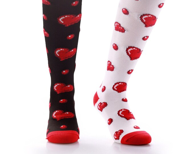 Samson® Black and White Hearts Valentine Funky Socks Sport Knee High Sport Football Rugby Soccer