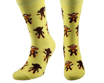 Samson® Funky Monkey Fashion Dress Socks Mid Calf Novelty Funny Present Animals