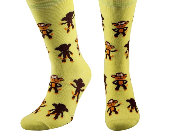Samson® Funky Monkey Fashion Dress Socks Mid Calf Novelty Funny Present Animals