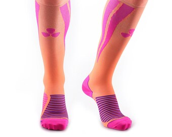 Samson® Orange Pink Compression Sports Socks Athletic Running Made in UK