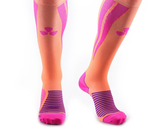 Samson® Orange Pink Compression Sports Socks Athletic Running Made in UK