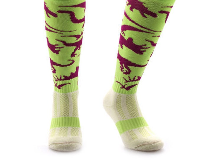 Samson® Dinosaurs Dino Funky Socks Sport Running Gym Knee High Sport Football Rugby Soccer