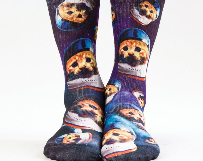 Samson® Cats Helmet Space Galaxy Stars Hand Printed Sublimation Socks Quality Print UK