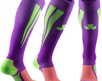 Samson® Purple Green Compression Sports Socks Athletic Running Made in UK