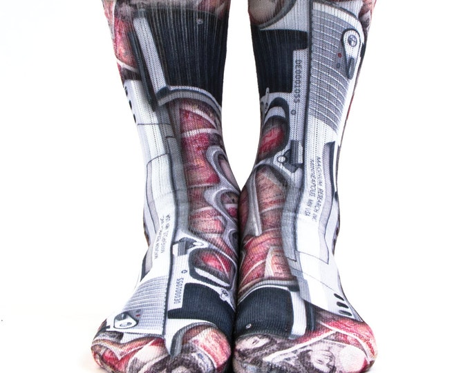 Samson® Guns And Money Sublimation Hand Printed Socks Streets Life Quality Print UK