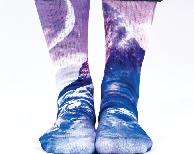 Samson® Space Mountain Hand Printed Socks Sublimation Cliff Peak Cosmos Galaxy Moon Quality Print UK