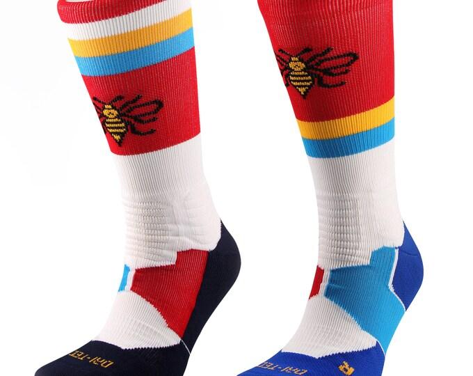 Samson® Dri-Tec Running Crew Socks Cushioned Sport Walking Athletic Cycling Navy Royal White