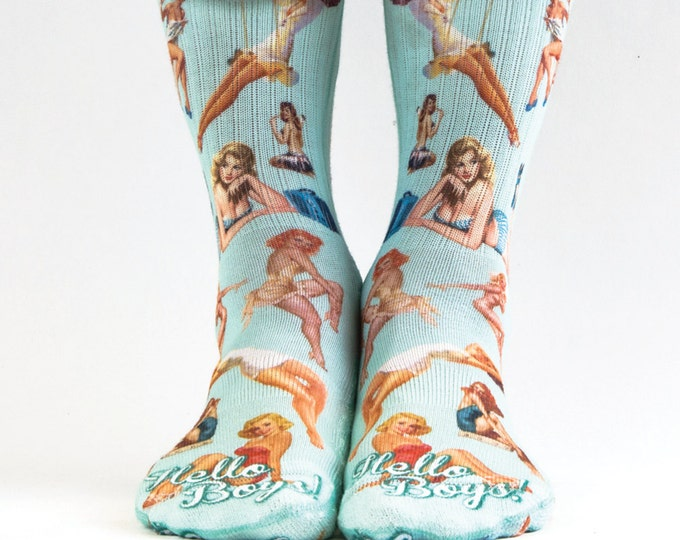 Samson® Pin Up Girls Sublimation Hand Printed Socks Lads Gift Stag Babes Womans Quality Print UK
