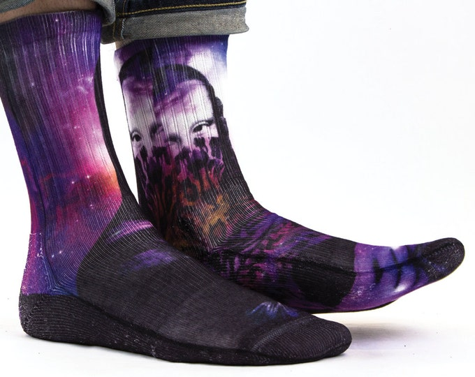 Samson® Mona Lisa Space Sublimation Hand Printed Socks Galaxy Culture Art Painting Quality Print UK