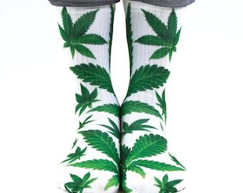 Samson® Ganja Leaf Sublimation Hand Printed Socks Weed Cannabis Marijuana Marihuana Pot Grass Quality Print UK