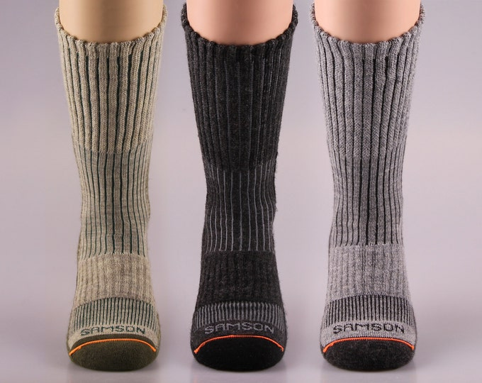 Samson® Hiking Wool Socks Mountain Trekking Crew Mid Calf Cosy Thermal