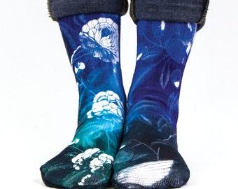 Samson® Hawaiian Galaxy Space Sublimation Hand Printed Socks Hawaii Island Tropical Quality Print UK