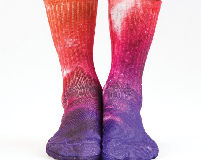 Samson® Galaxy Red Sublimation Hand Printed Socks Space Stars Colourful Quality Print UK