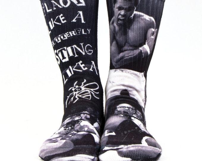 Samson® Ali Box Sublimation Hand Printed Socks Boxing Muhammad Fight Vintage Quality Print UK