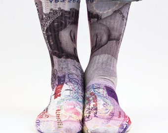 Samson® 20 Pounds Sublimation Hand Printed Socks Queen Money Bill Currency Sterling Quality Print UK