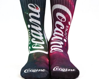 Samson® Cocaine Galaxy Sublimation Hand Printed Socks Space Red Green Quality Print Mature UK