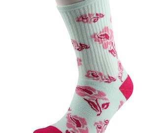 Samson® Spearmint Pink Roses Crew Socks Cotton Fashion Flowers Girly