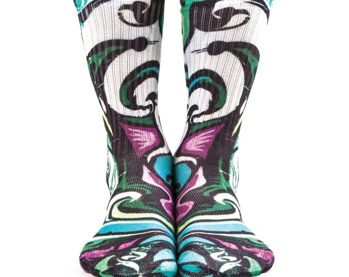 Samson® Graffiti Art Colour Hand Printed Sublimation Socks Quality Print UK