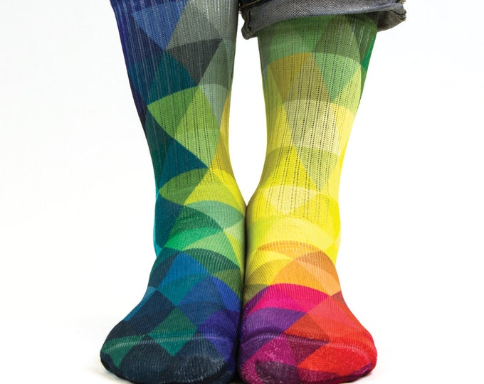 Samson® Triangles Sublimation Hand Printed Socks Shapes Colours Geometry Quality Print UK