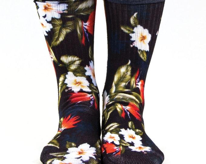 Samson® Hawaiian Black Red Sublimation Hand Printed Socks Hawaii Island Tropical Quality Print UK