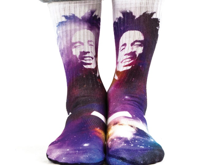Samson® Bob Marley Space Sublimation Hand Printed Socks Classics Vintage Old School Quality Print UK