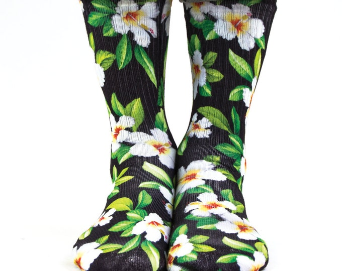 Samson® Hawaiian Black White Sublimation Hand Printed Socks Hawaii Island Tropical Quality Print UK