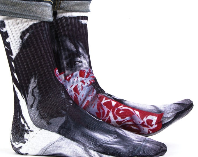 Samson® Bob Marley Bandana Sublimation Hand Printed Socks Classics Vintage Old School Quality Print UK