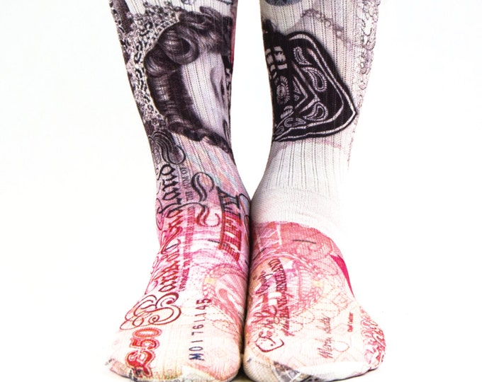 Samson® 50 Full Pounds Sublimation Hand Printed Socks Queen Money Bill Currency Sterling Quality Print UK