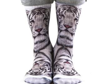 Samson® White Tiger Hand Printed Socks Animal Sublimation Quality Print UK
