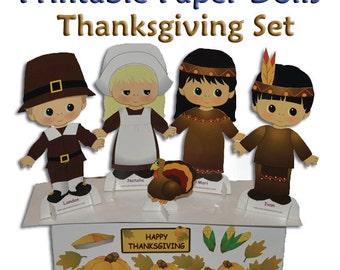 Thanksgiving Printable Paper Doll Set - Download PDF - Clip Art