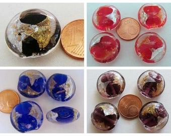 Lot de 10 Perles en Verre Lampwork Carrées 20mm Feuille d'or