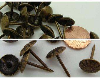 20 Clous Tapissiers Bronze diamètre 11mm tête lisse ou motif Fleur Home déco bricolage