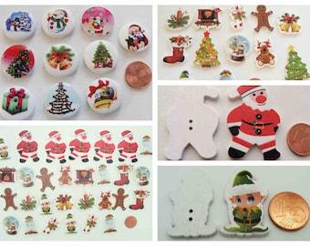 Boutons NOEL ronds ou découpés modèles divers pour création déco scrapbooking Fêtes réveillons sapin Père Noël Lutins Cadeaux Bonhomme neige
