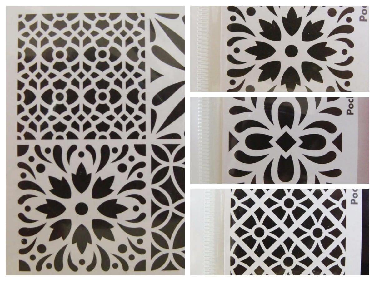 pochoir motifs style carreau de ciment artemio vintage. Black Bedroom Furniture Sets. Home Design Ideas