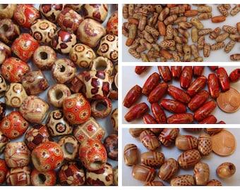 Perles bois bambou mod au choix motifs par papier collé DIY création bijoux