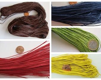 fil cordon coton ciré 1mm en écheveau 60 à 75 mètres plus de 20 couleur au choix
