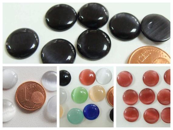10 CABOCHONS ronds verre OEIL DE CHAT 12mm BLANC GRIS DIY création bijoux déco