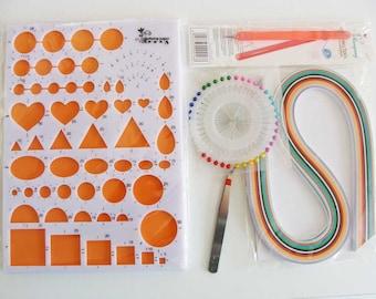 Quilling kit de départ avec gabarit outil aiguilles et bandes de papier paperolles mix couleurs