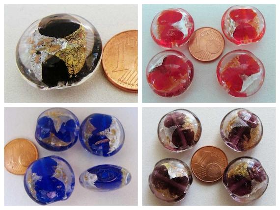 4 perles galets 20mm ROSE ronds plats VERRE façon Murano feuille argente bijoux