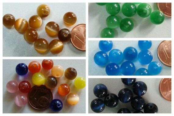 200 env perles chips verre OEIL DE CHAT mix couleurs DIY Création bijoux Déco