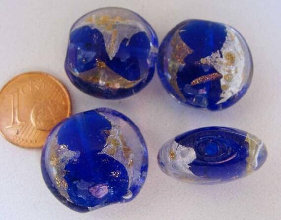 4 perles galets VERRE facon Murano 20mm feuille métal argente doré DIY NOIR