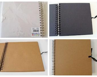 Album scrapbook 20x20cm 40 feuilles 80 pages spirale Artemio Blanc Noir ou Marron kraft Scrapbooking photo