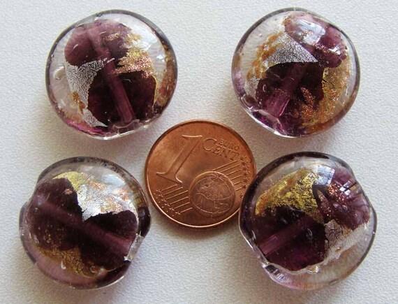 4 perles galets VERRE facon Murano 20mm feuille métal argente doré VIOLET