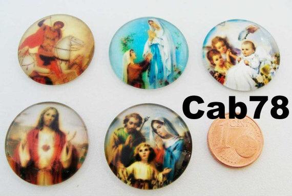 4 CABOCHONS Verre Ronds 16mm verre CHAT CHATON DIY création bijoux déco
