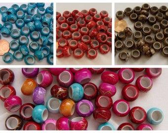50 perles RONDELLE 10x7mm  résine aspect marbré couleur au choix DIY création bijoux RES-30