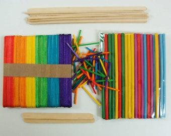 Bâtons bois esquimau ou allumettes batonnets loisirs créatifs collage maquette modèle au choix DIY