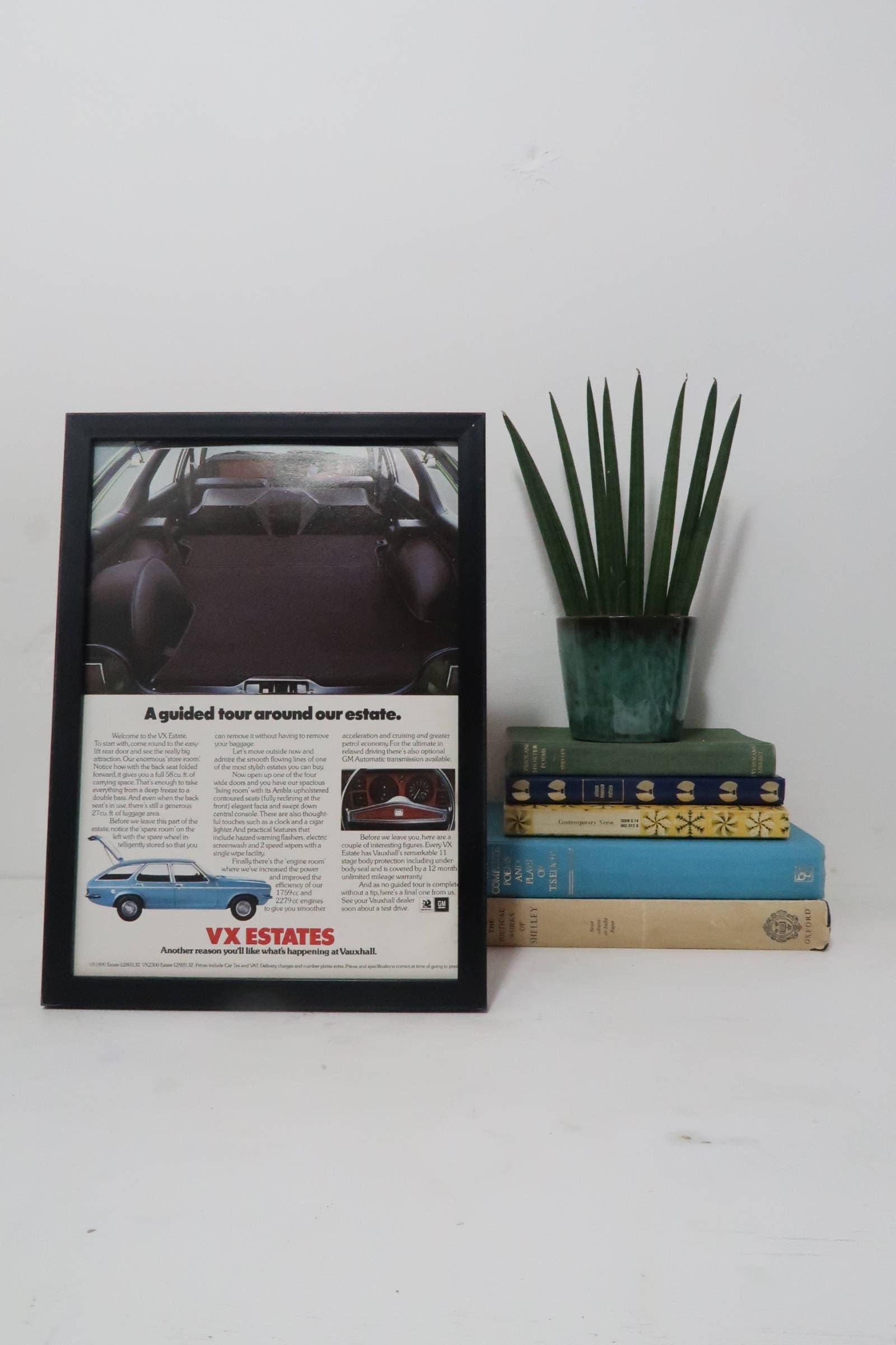 55d620500b40 Vintage Vauxhall Car Poster Framed Advert Old Fashioned VX   Etsy