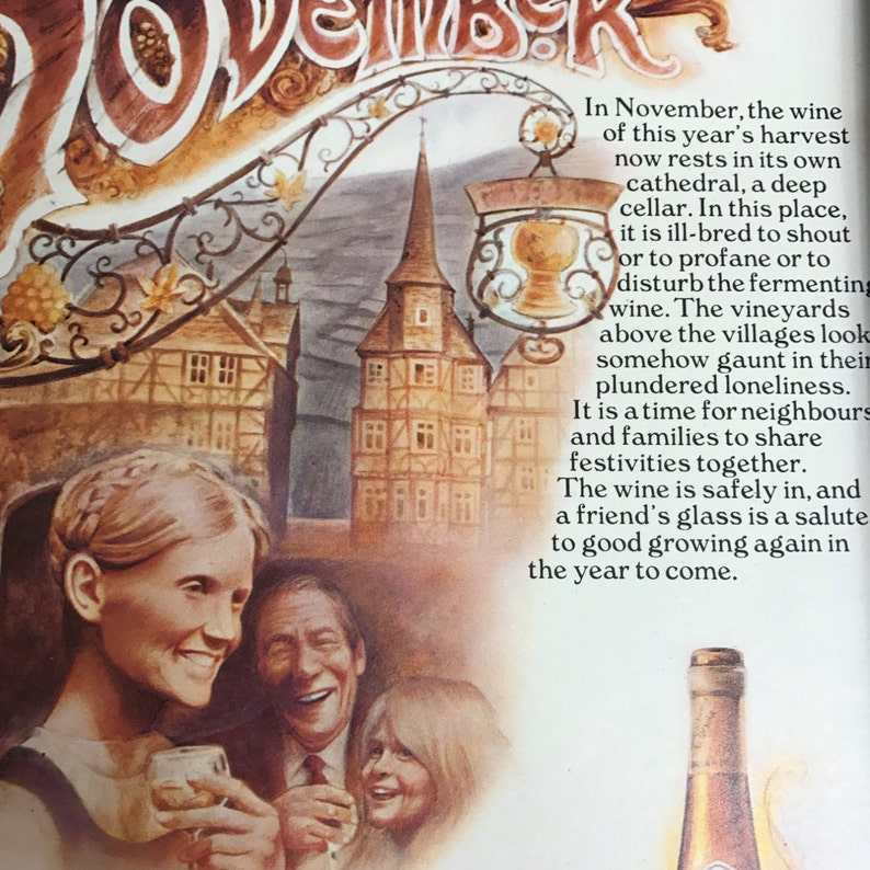 Goldener Oktober Wine Advertisement Original Vintage 1974 Framed A4 Brewinalia.